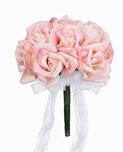 Pink Silk Rose Toss Bouquet - Lesbian  Bridal Wedding Bouquet