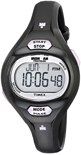 Timex Women s T5K187 Ironman Pulse Calculator Black/Purple Resin Strap Watch