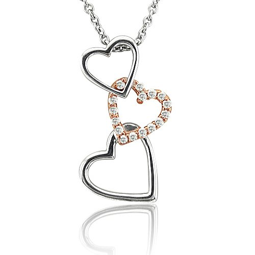 Sterling Silver Heart Diamond Pendant Necklace-0.10 carat