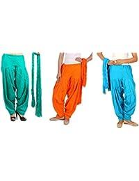 Rama Full Patiala Salwars With Dupattas Combo Of 3 (Orange, Light Green, Blue_Free Size)