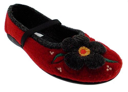 pantofola panno feltro rosso fiore laccetto 37 rosso