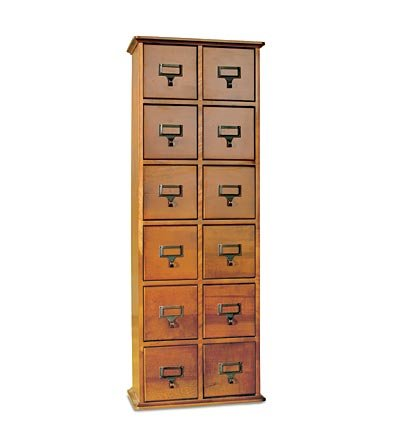 Retro-Style Wooden 12-Drawer Multimedia Library File Cabinet, In Walnut Finish front-977283