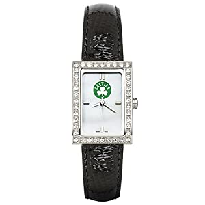 CZNSW22360Q-w-Black Leather Boston Celtics Watch with Cz Frame by NBA Officially Licensed