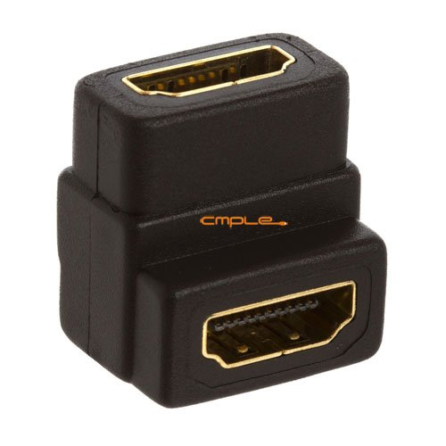 Cmple - HDMI to HDMI Coupler Female - 90 Degree Gold Plated