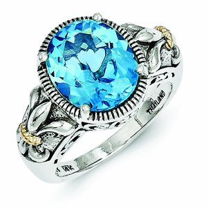 Sterling Silver with 14k Gold Blue Topaz Ring - (Size 8)