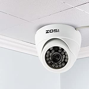 "ZOSI HD 800TVL 1/3"" 800TVL 4.6mm 24 IR Cut Security Camera Indoor Day Night Vision Surveillance System (White)"