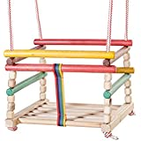Woodeyland Wooden Safety-Seat Cradle Swing for Children COLOURED PRODUCT