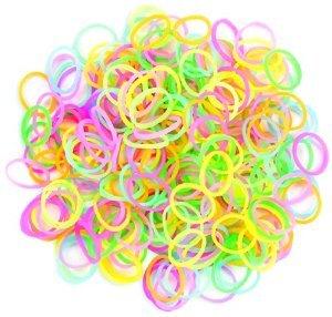 Rainbow Loom Bands - Lot de 300 élastiques en silicone phosphorescent , 1 crochet et 12 fermoirs pour Loom Bands