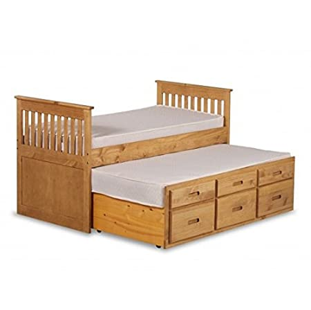 Children's Single Slat Bed with Trundle & Storage - The Ultimate Space-saving Bed Suitable for Bedrooms with Very Limited Space (Waxed Pine)