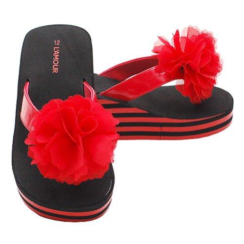 Toddler Girls Size 8 Red Black Stripe Flip Flops Sandals Shoes front-48488
