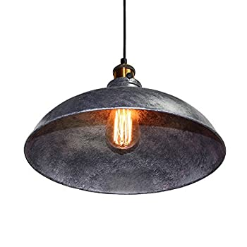 LNC Vintage Pendant Lights, Industrial 1-light Adjustable Hanging Lights, Brass Finish, Gray Metal Shade