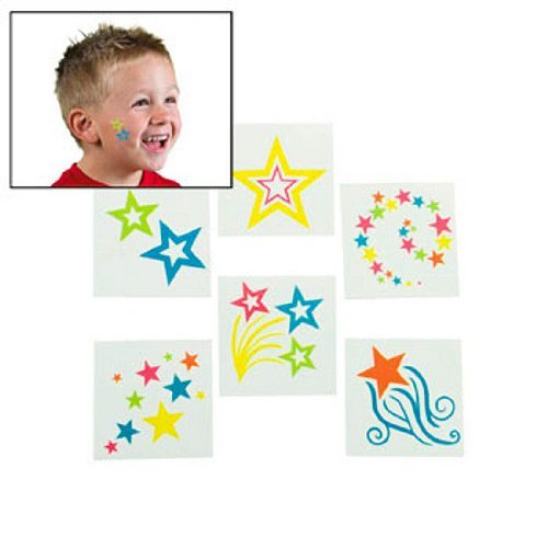 Glow-In-The-Dark Star Tattoos 36 pcs - 1