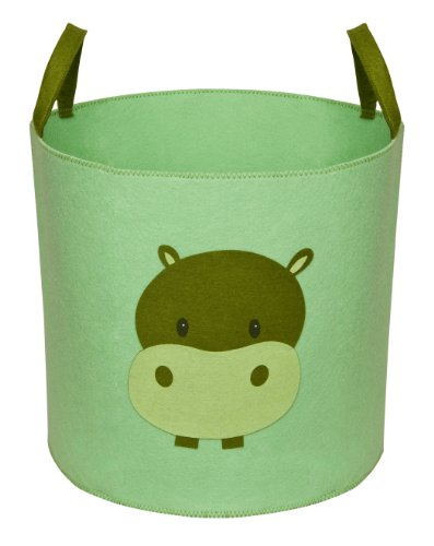 Delta Children Nursery and Toy Storage Bin, Hush Green with Hippo