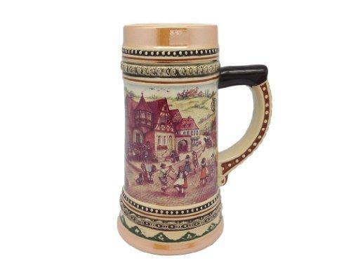 Engrave Ceramic Beer Stein With German Village Dancers 1