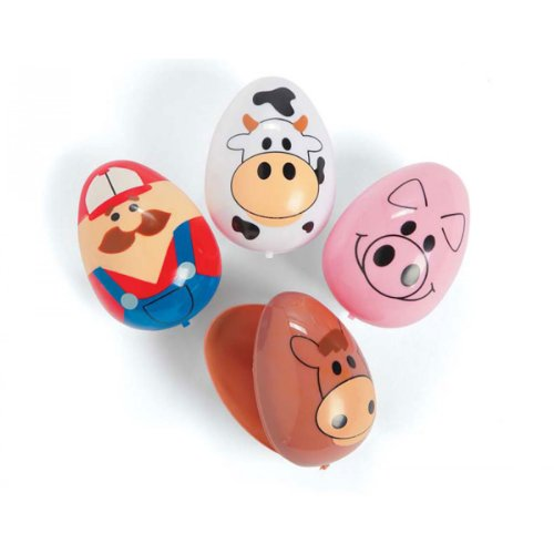 Plastic Farm Animal Easter Eggs - 1 dozen - 1