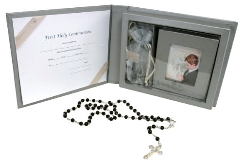 Stephan Baby Keepsake My First Communion Gift Set With Rosary And Photo Frame, Boy front-830451