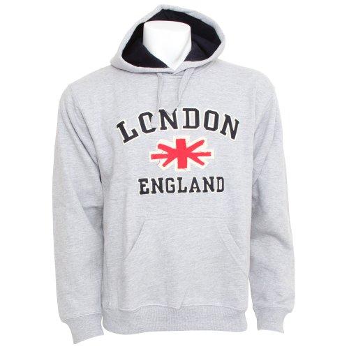 Mens London England Hooded Sweatshirt Jumper/Hoodie (XL - 46inch - 48inch) (Light Grey)