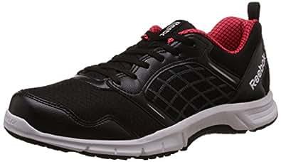 Reebok Men's Road Rush Black, Mett Silver, Neon Cherry and White Running Shoes - 10 UK
