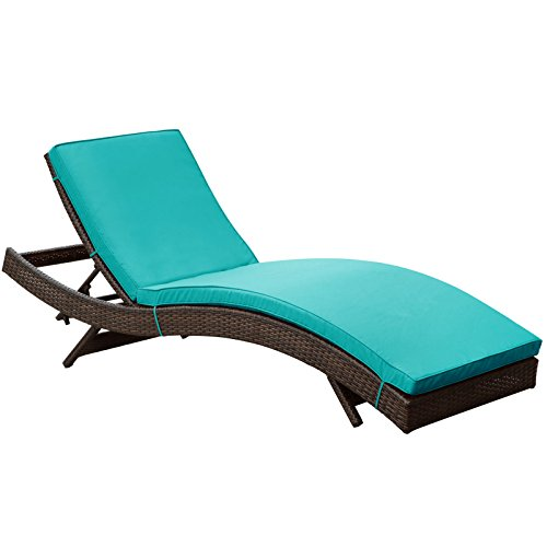 Lexmod peer outdoor wicker chaise lounge chair with brown for Brown chaise lounge outdoor