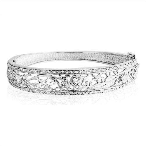 Bling Jewelry Sterling Silver CZ Pave Leaves Bangle Bracelet 8 Inch