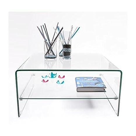 Homely - Mesa de centro cuadrada 80x80 de cristal curvado y templado de una pieza con revistero Murano