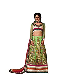 Green Net And Silk Lehenga Choli