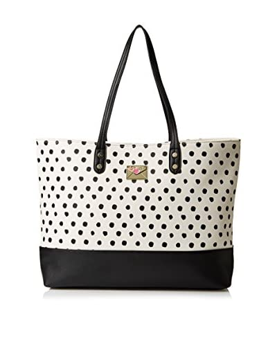 Betsey Johnson Women's Kiss Marks The Spot East West Tote, Cream