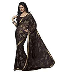 Cutie Fashion Black With Golden Border Brasso Printed Saree With Blouse
