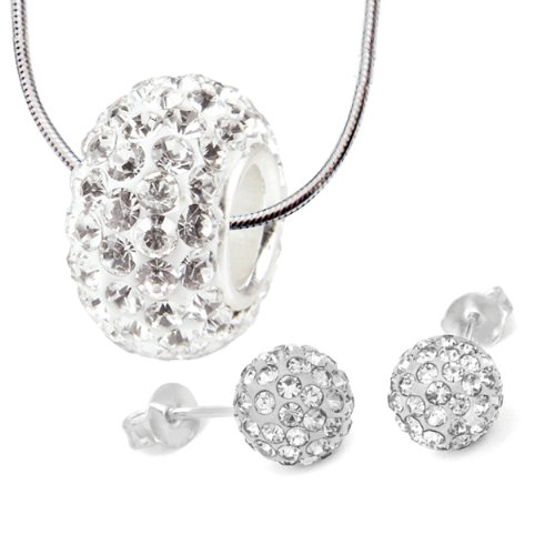 Charm Set Necklace Stud Earrings Stainless Steel, 6mm Earrings Swarovski Crystal Ball,White Swarovski Crystal Bead Necklace - 3 Pieces