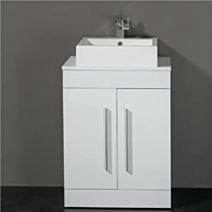 600mm white bathroom furniture 2 door cabinet unit with counter top