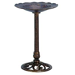 Cast Iron Rose-themed Birdbath - Pedestal Birdbath for Yard, Garden Product SKU: BB11114