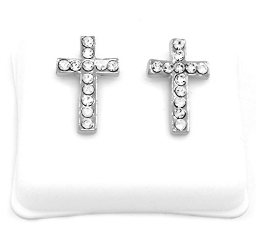 Mens Platinum Plated Cz Micro Pave Iced Out Hip Hop Smooth Cross Stud Earrings Bullet Backs