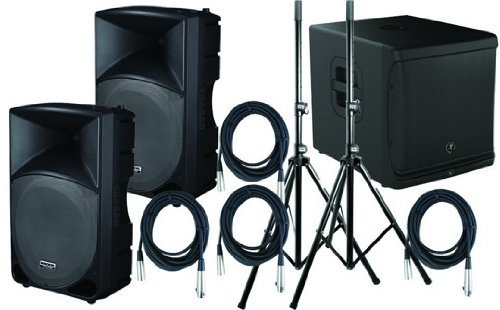 """Mackie Th-15A Powered Speakers (2) / Srm1801 1000W 18"""" Powered Subwoofer / (2) Speaker Stands / (4) 25' Xlr Cables (Astro Avl Pro Kit)"""