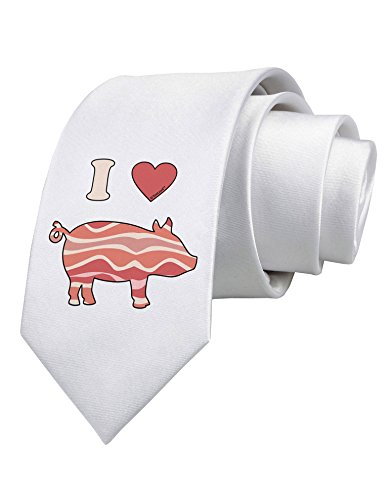 TooLoud I Heart My Bacon Pig Silhouette Printed White Neck Tie