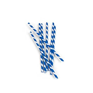 Kikkerland Biodegradable Paper Straws, Blue and White Striped, Box of 144