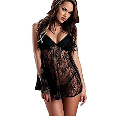 Generic Sexy Black Lingerie Nightwear Underwear Women Babydoll Erotic Sleepwear -V-neck