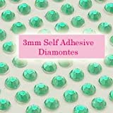 300 Aqua Green 3mm Acrylic Rhinestone Gems ~ Self Adhesive