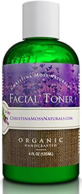 Facial Toner, Organic and 100% Natural Face Toner for All Skin Types. Clearing, Refines, Tightens Pores, Hydrates & Restores pH. No Harmful Chemicals or GMOs. Christina Moss Naturals.