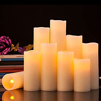Pandaing Flameless Candles Battery Operated LED Pillar Real Wax Flickering Electric Unscented Candles with Remote Control Cycling 24 Hours Timer, Ivory Color, Set of 9