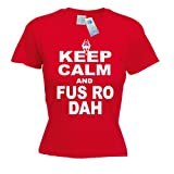 KEEP CALM AND FUS RO DAH LADY FIT T SHIRT ( RED ) Premium New Ladies Womans Girl Tight Fit tshirt Skyrim Novelty Elderscrolls Cool Sleep Fashion Eat Slogan Funny Game Dragon Retro Gift Present S M L XL 2XL