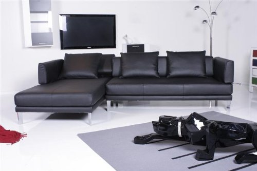 rolf benz sofa 344 sento ecksofa leder schwarz recamiere links. Black Bedroom Furniture Sets. Home Design Ideas