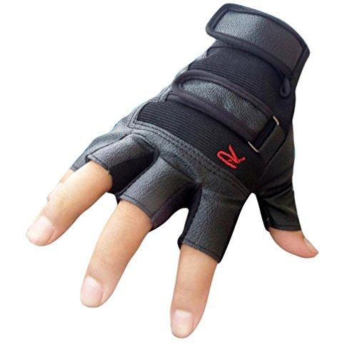 Tenworld Men Tactical Outdoor Sports Bike Bicycle Half Finger PU Leather Gloves