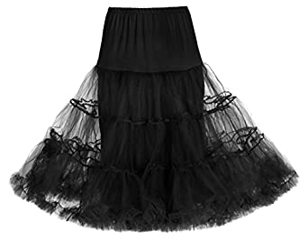 "Lindy Bop Classic 26"" Organza Net Mesh Tulle Petticoat for Rockabilly Swing Dresses (8 to 14, Black)"