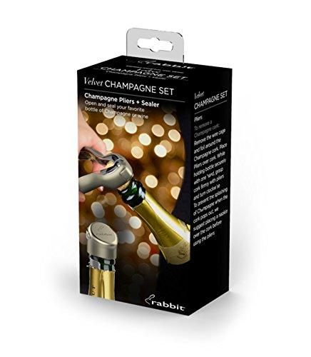 Metrokane 6167 Rabbit Velvet Champagne Opener Set, Metal
