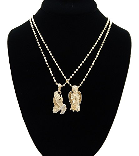 Praying Hands + Chrub Angel 14K Gold Overlay Micro Piece Mini Charm Pendant Chain Necklace Set Of 2