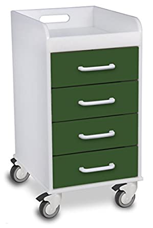 "TrippNT 51084 Polyethylene Compact Locking Cart, 14"" Width x 27"" Height x 19"" Depth, 4 Drawers, Hosta Leaf"