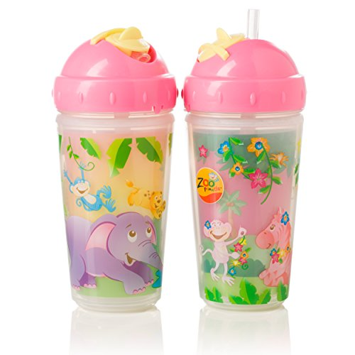 Evenflo Feeding Zoo Friends Insulated Straw Cups, Pink, 10 Ounce - 1