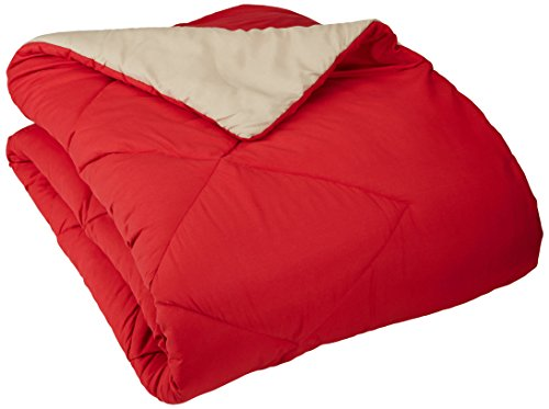 Cheapest Prices! AmazonBasics Reversible Microfiber Comforter - Twin/Twin Extra-Long, Red