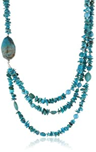 Sterling Silver and Turquoise Nugget 3 Row Necklace, 20+3