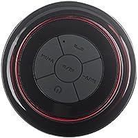 Expower(R) Neue Design IPX7 Wasserdicht Bluetooth Speaker Wireless-Stereo-Lautsprecher mit Saugnapf für Duschen,Built-in Mic für den Einsatz als Kraftvolle Freisprecheinrichtung (schwarz mit rot)